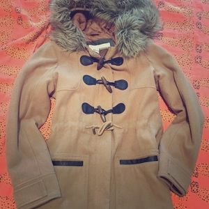 Abercrombie and Fitch toggle faux fur pea coat